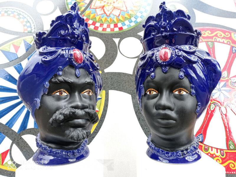 Teste di Moro coppia colore blu e nero