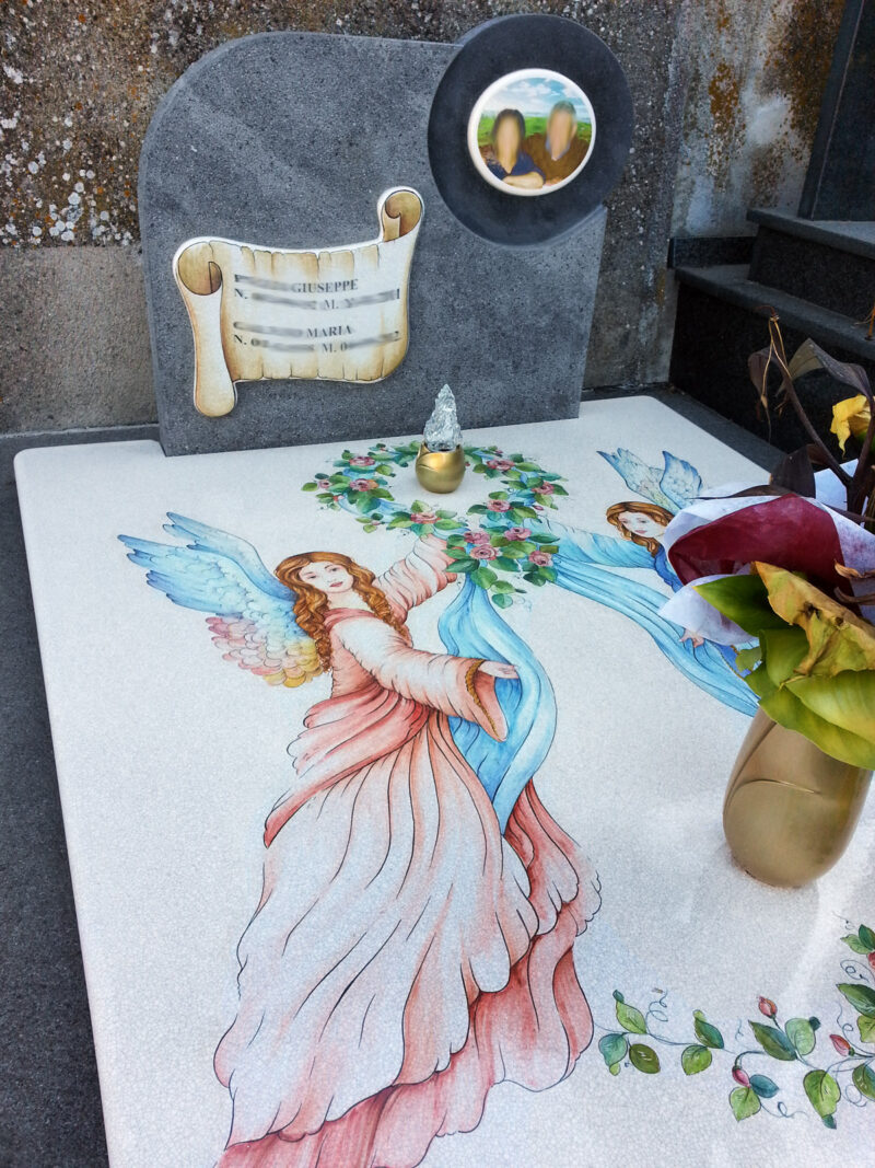 Tomba Lapide Arte Sacra decorata a mano