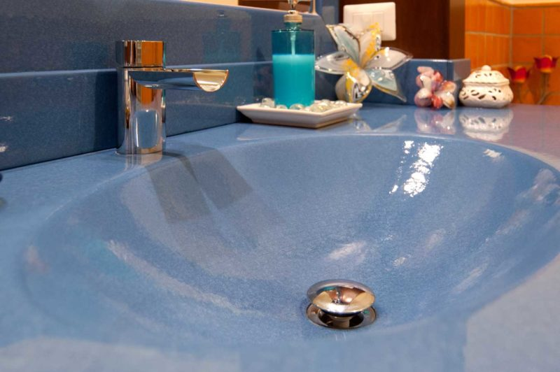 Top con lavello scavato, pietra lavica ceramizzata monocolore