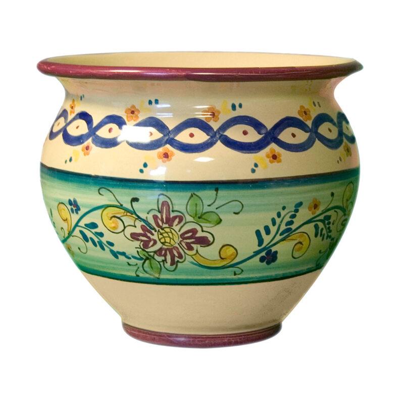 Vaso/Portavaso in ceramica decorato a mano