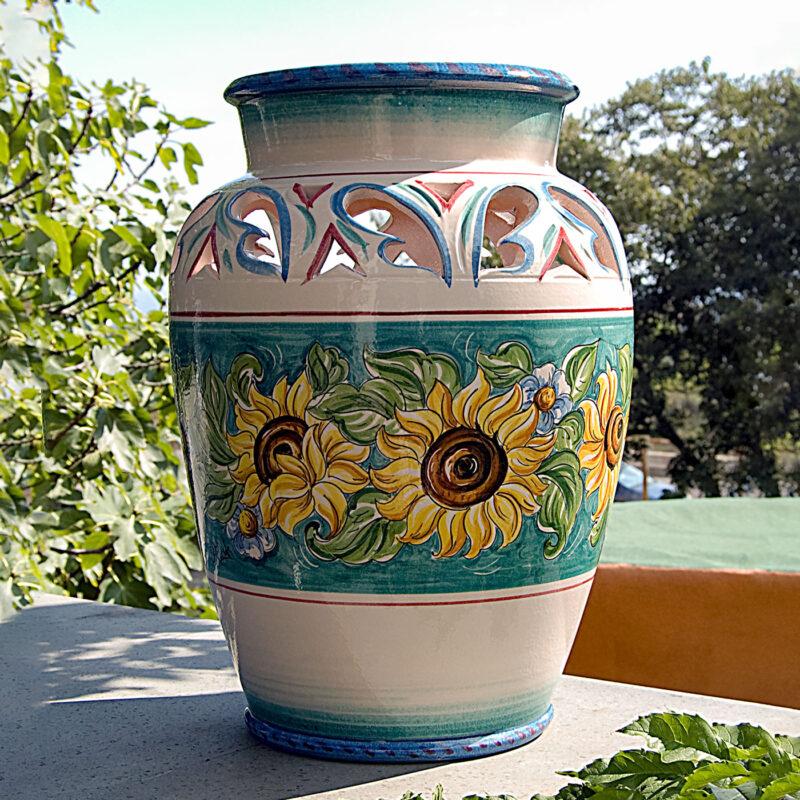 Vaso porta ombrelli in ceramica dipinto a mano con decoro Girasoli