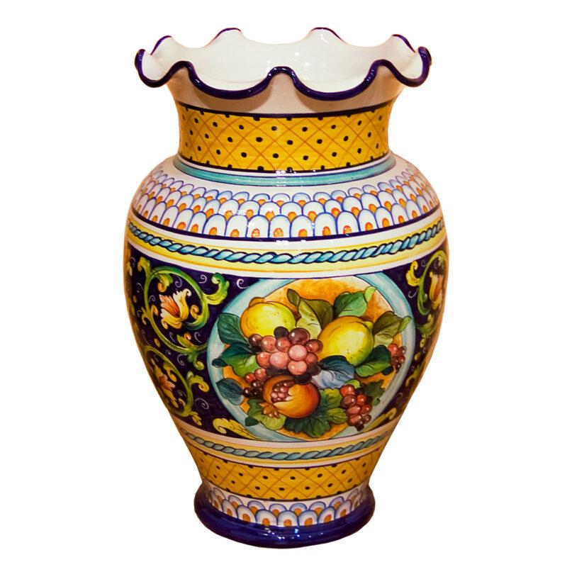 Vaso porta ombrelli in ceramica decorata a mano