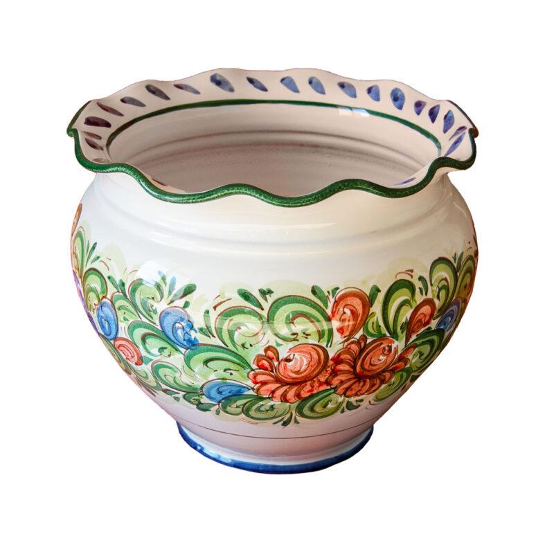 Portavaso/Vaso floreale in ceramica decorata a mano
