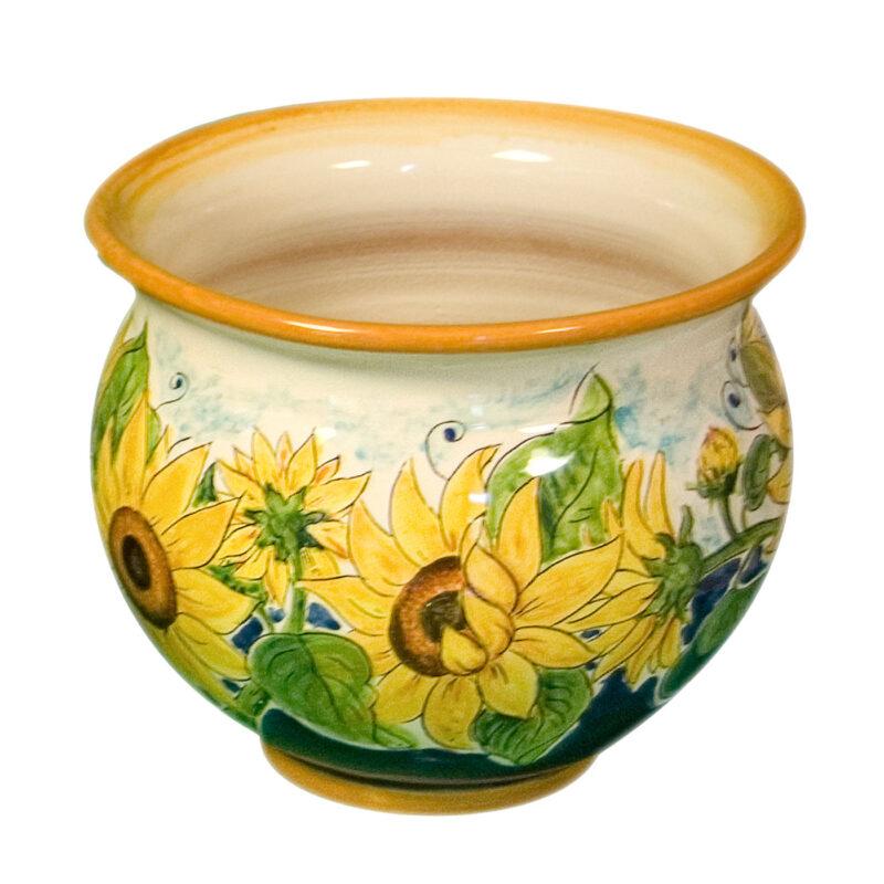 Vaso/Portavaso in ceramica decorato a mano girasoli